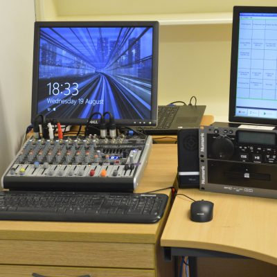 The sustainer and online boradcasting PC, with the crossover mixer to switch between the sustainer feed, for when we are off air and the main studio feed, for when we are broadcasng live.