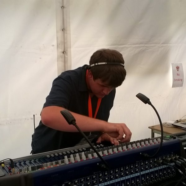 Cameron at the mixing desk.