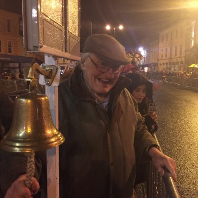 Ringing the bell.